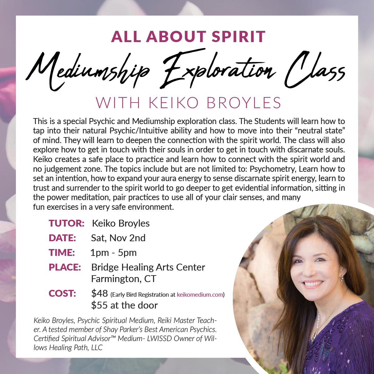All About Spirit. Mediumship Exploration Class with Keiko Broyles @ Bridge Healing Arts Center | Farmington | Connecticut | United States