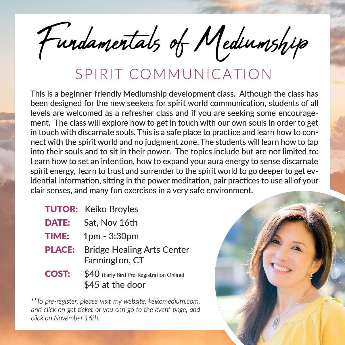 Fundamentals of Mediumship @ Bridge Healing Arts Center | Farmington | Connecticut | United States