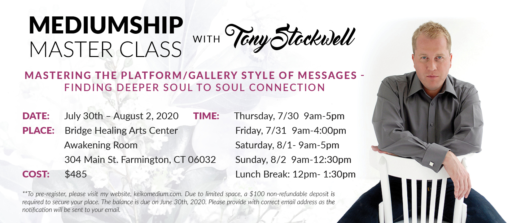 Mediumship Master Class with Tony Stockwell @ Bridge Healing Arts Center | Farmington | Connecticut | United States