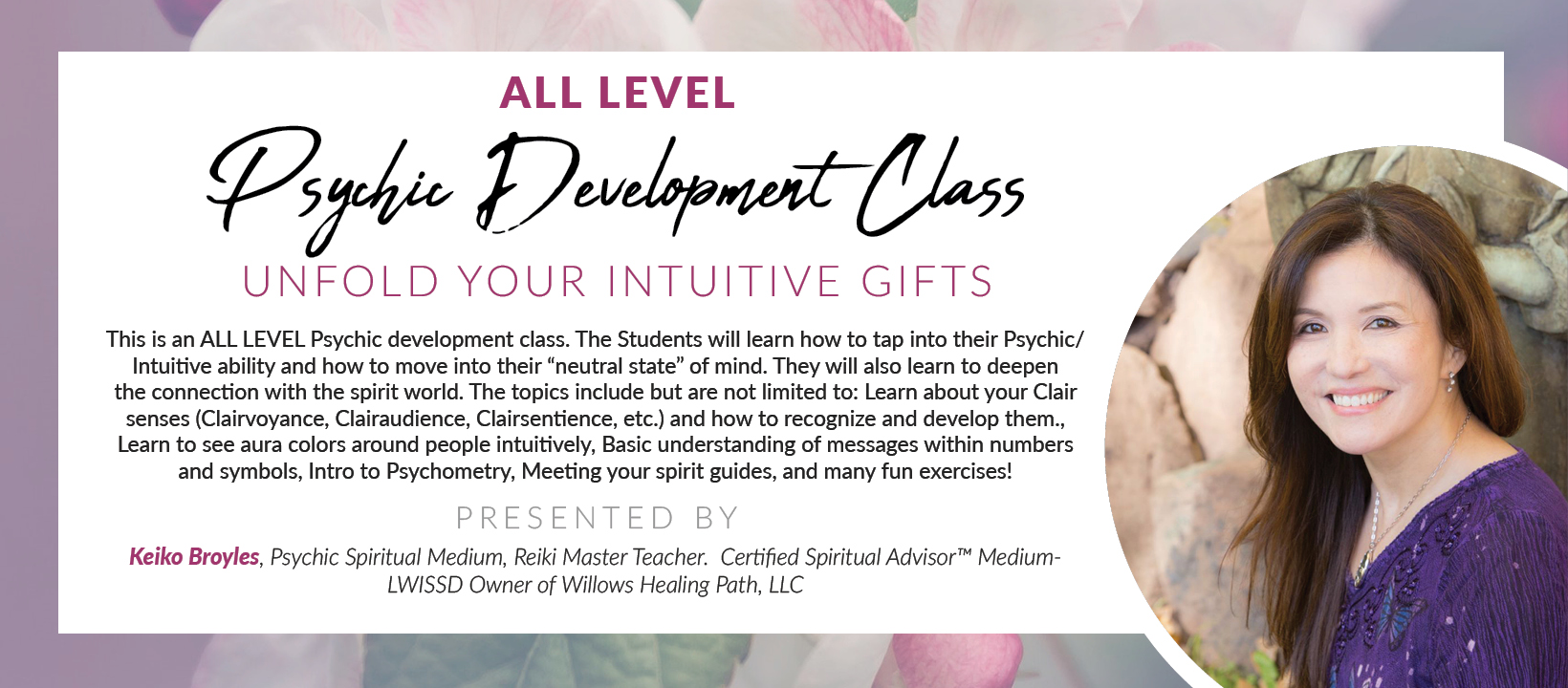 All Level Psychic Development Class via Zoom - Unfold your Intuitive gifts